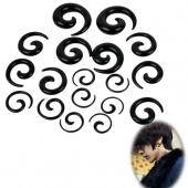 Unisex 18PCS Ear Spiral Tapers False Snail Shape Set/ Lot Black/ White