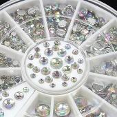 12 Grid Rainbow Finger Nail Glitter Rhinestone for Nail Decoration Wheel