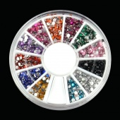 2000Pcs 12 Colors 2MM Nail Art Rhinestones Decoration for UV Gel Acrylic Systems