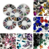 Mix Shape Acrylic Nail Art Decoration Rhinestones Glitters Gems round Case