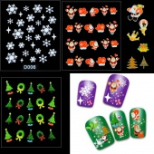 12 Sheets Christmas Snowflakes Santa Trees Design 3D Nail Art Stickers Decals