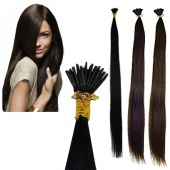 50PCs Stick-tipped Straight Human Hair Extensions 3 Color 4 Size