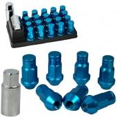 Blue 20 Pcs P1.5 50MM Length Aluminum Wheel Extended Lug Nuts Open End