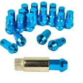 20PCS Blue P:1.25, L:50mm Aluminum Extended Length Closed End Lug Nuts Light Weight 50mm