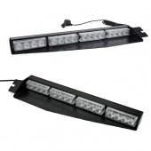 Split Visor Dash Emergency Warning Strobe Mount Deck LED Light Bar White