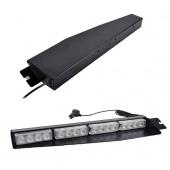 Split Visor Dash Emergency Warning Strobe Mount Deck LED Light Bar Amber
