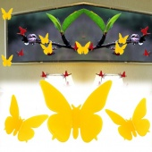 3D Wall Sticker Butterfly Home Decor Room Decorations Stickers Yellow Small Size