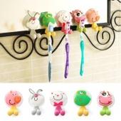 5pcs/lot Ultra Cute Cartoon Sucker Toothbrush Holder / Suction Hooks