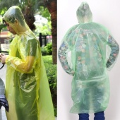 2 PCS Disposable Adult Emergency Waterproof Raincoat Hood Poncho Camping Travel Hiking