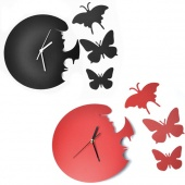 Brand New Wall Clock Fashion Style Decor Home Art Design Time Large Butterfly Jewellery Black/Red