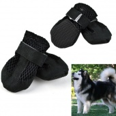 Pet Dog Booties Shoes Air Holes Black Suede Synthetic Boot