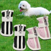 Fashion PU Comfortable Boots Waterproof Shoes for Small & Big Pet Dog Pink/Black