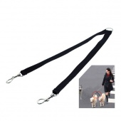 Two Way Double Leash Coupler Walk 2 Dogs 1 Lead Black