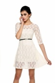 Women's Ladies Elegant Sexy round Neck 3/4 Sleeve Lace Dress with Belt