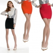 Korea Women Slim Fit Bandage High Or Low Waisted Stretch Mini Short Pleated Skirt