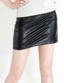 Women European Style Zipper High Elastic Close-fitting Faux Leather Mini Skirt