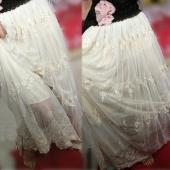 Soft Bohemian Restore Women Flower Embroider Net Yarn Long Skirt