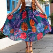 Soft Bohemian Restore Women Flower Printing Chiffon Long Skirt 5Colors