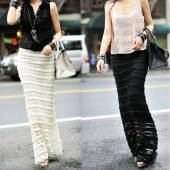 Women's Fashion Slim Lace Maxi Long Skirt Elastic Waist Dress 2 Colors