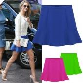 Sexy High Waist Short Plain Flared Pleated A-Line Mini Skirt 3 Colors