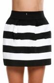 Women Stripe High Waist Skirt Black White Splicing Color Stitching Texture Short Bubble Skirt
