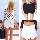 Women Tiered Asymmetric Wrap Skorts Skirts Irregular Laminated Flanging O