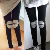 Fashion Cut-Out Knee Open Mouth Patch Girls Slim Stretchy Leggings Tights/Pants Spring Autumn