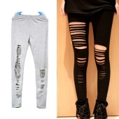 Sexy Ripped Torn Slashed Leggings Punk Low Rise