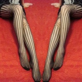 "Korea Women""s Girls Sexy Lace Grain Upper Thighs See through Net Stockings Leggings Black"
