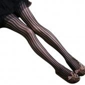 "Korea Women""s Girls Vertical Lines Fishnet Net Pattern Jacquard Pantyhose Tights Stockings Leggings Black"