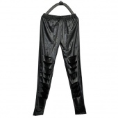 Women Fashion New Black Leather Look Lace Skinny Pants Leggings