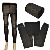 Fashion Winter Warm FLORAL Opaque Thick Tights Leggings Knitted Pants
