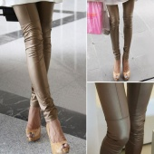 Patchwork Legging Trousers Faux Leather Pants Leather Stretch Skinny Legging