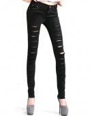 Fashion Black Women Punk Ripped Jeggings Trousers New Cut-out Skinny Jeans