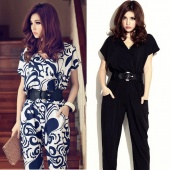 Women Ladies Elegant Short Sleeve V-neck Exotic Jumpsuit Pants Shirts Playsuit with Waistband