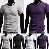 Mens Short Sleeve Slim Fit Shirt Tops Designed Casual T-shirts Tee 4 Colors 4 Sizes