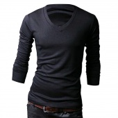 Men's Slim Fit Solid Color Stylish V Neck Long Sleeve T-shirts Tee Tops M/L/XL