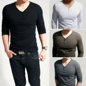 Men's Stylish Comfort Lycra Dee V-Neck Longp Sleeves T-Shirt Tunic Button Tops/Tees