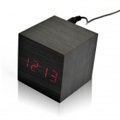 Modern Square Wood Wooden Red Light LED Display Sound Activated Digital Alarm Clock Thermometer
