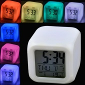 LED 7 Colors Change Digital Alarm Clock Thermometer Night Colorful Glowing Clock