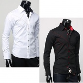 Slim Fit Stylish Long Sleeve Shirts Luxury M/L/XL 3 Sizes New Mens Casual