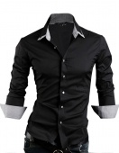 Designer Men's Fashion Slim Fit Shirts Luxury White, Black Size XS,S,M Good