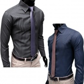 Men's Fashion Stripe Stylish Casual Dress Slim Fit Long Shirts 2 Colors Sleeve