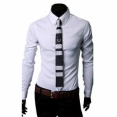 Fashion Stylish Korea Style Mens Casual Fit Dress Shirts 3 Color 4 Size Slim