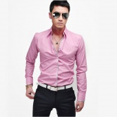 Korean Men's Fashion Stylish Casual Shirts Slim Fit Long Sleeve Shirt Tops 4 Color 4 Size