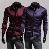 Men's Fashion Emulation Silk Shiny Leisure Wear Men's Long Sleeve Shirt