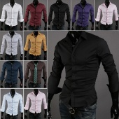 Fashion Men Long Sleeve Pure Color Shirt Tops 10 Colors