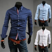 Fashion Cool Men's Luxury Casual Slim Fit Stylish Long Sleeve Shirt Front Button Dress