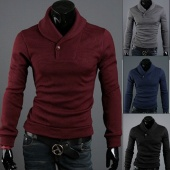 Korean T-Shirts Fashion Men's Slim Warm Pullover Lapel Sweater Knit