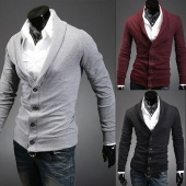 Men Stylish Turndown Collar V-Neck Cardigan Sweater